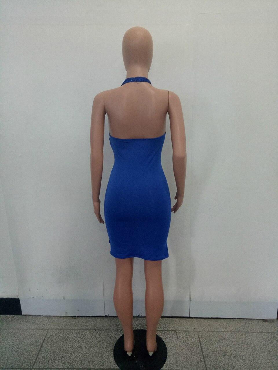 b2f0050c7 € 21.74  Hongmiao Mujeres Partido vestido azul sequined backless ver a  través de malla bodycon Vestido corto transparente lujo Club mini sundress  ...