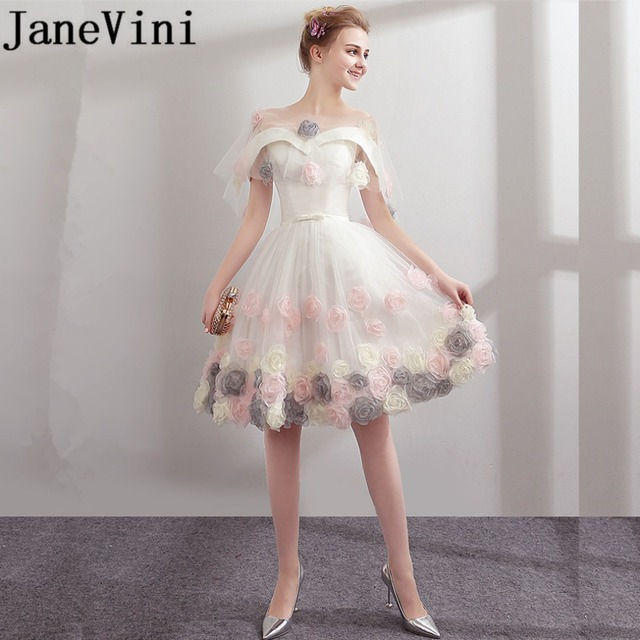 JaneVini 2018 Charming 3D Flowers Short Bridesmaid Dresses with Detachable Cape Off the Shoulder A-Line Knee Length Robe Soiree