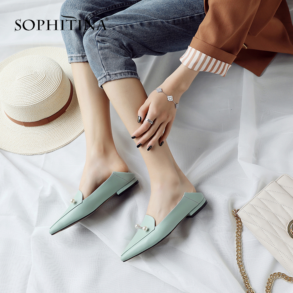 SOPHITINA Popular Pearl Women s Pumps High Quality Genuine Leather Casual Slip On Shoes Sexy Elegant