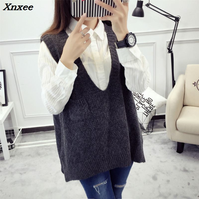2018 Spring Autumn Wool Sweater Vest Women Sleeveless V Neck Knitted Vests Long Sections Poullover Vest Female Jumper pull femme in Vests from Women 39 s Clothing