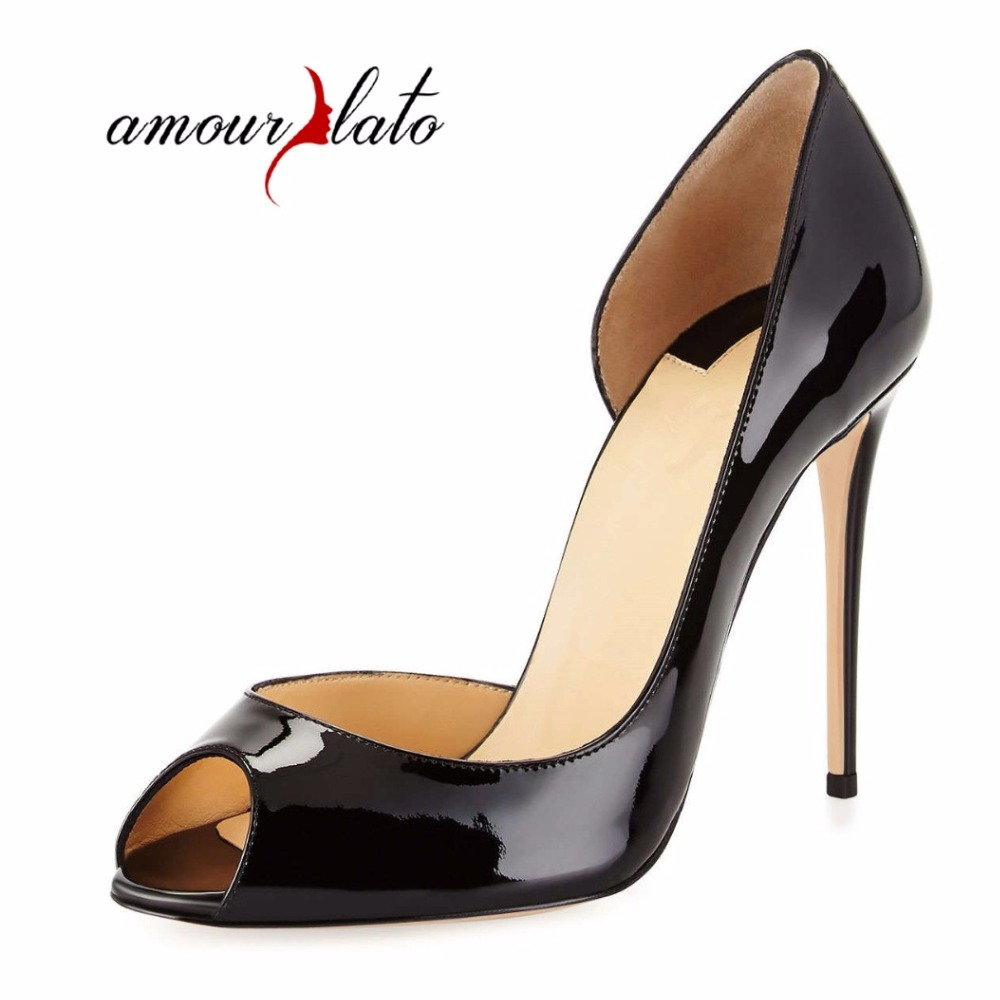 Amourplato Ladies Womens Fashion 12cm D'orsay  High Heel Peep Toe Sandals Slip On Party Dress Pumps Cut Out  Sandals Black beige hotsale women solid blue flower decoration crossed style slip on sandals summer fashion high suare heel peep toe pumps free ship