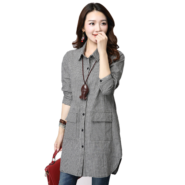 Women Long Shirts 2016 Autumn Long Sleeve Plaid Shirt Checked Female Vintage Korean Fashion Clothing Ladies Tops Camisa Feminina
