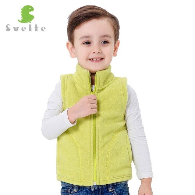 Svelte Brand Autumn Winter Kids Boys Girls Lining Fur Fleece Vest Candy Color Zipper Solid Unisex Waistcoat Inside Fur Kids Vest