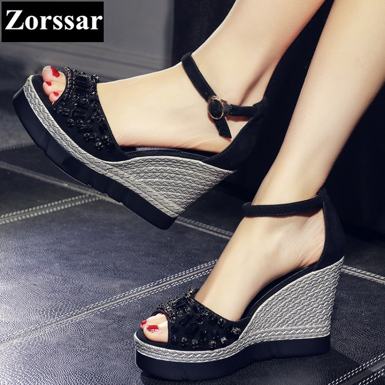 2017 NEW Summer Women wedges sandals platform rhinestone peep toe High heels Womens Casual shoes Fashion Suede ankle strap heels phyanic 2017 gladiator sandals gold silver shoes woman summer platform wedges glitters creepers casual women shoes phy3323