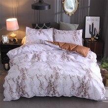 Mármore simples conjunto de cama capa edredão colcha twin king size com fronha consolador durável 3d design luxo capa