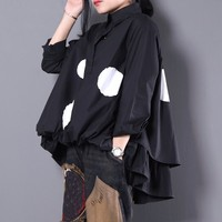 EAM New Spring 2018 Fashion Black Lapel Long Sleeve Single Breasted Dot Printed Loose Big