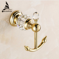 Free Shipping Luxury Crystal Brass Gold Robe Hook Bathroom Hangings Gold Towel Rack Clothes Hook HK