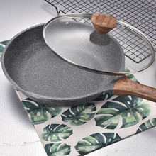 20CM-28CM Aluminum Alloy Cooking Pot Medical Stone Non-stick Pan With Wooden Handle & Glass Lid For Gas & Incuction Cooker