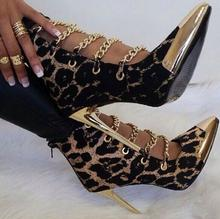 Sexy leopard 10cm stiletto heels booties metal chains gold pointed toe cut-outs ankle boots women dress shoes size 35-41 TT301