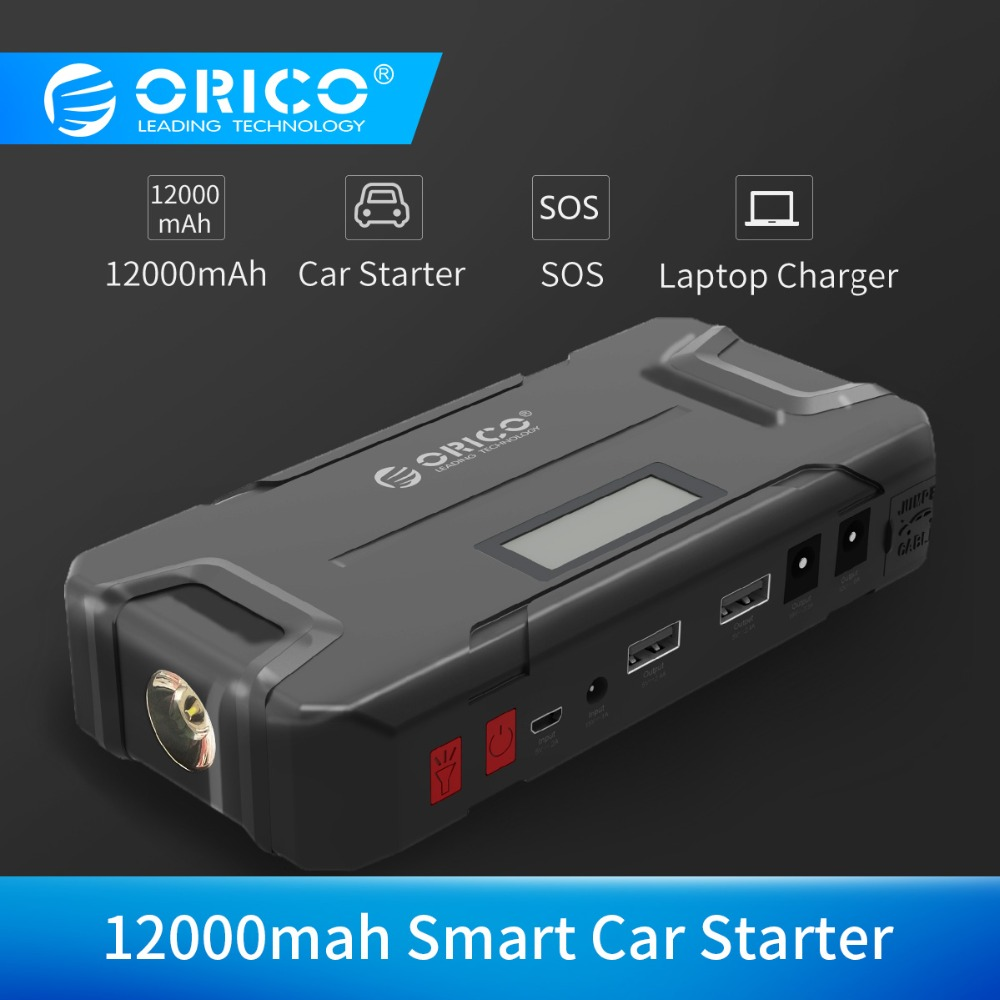 ORICO CS2 12000mAh Mini Vehicel Power Bank Portable Battery Emergency Booster Buster Power Bank with Flashlight for Phone Car