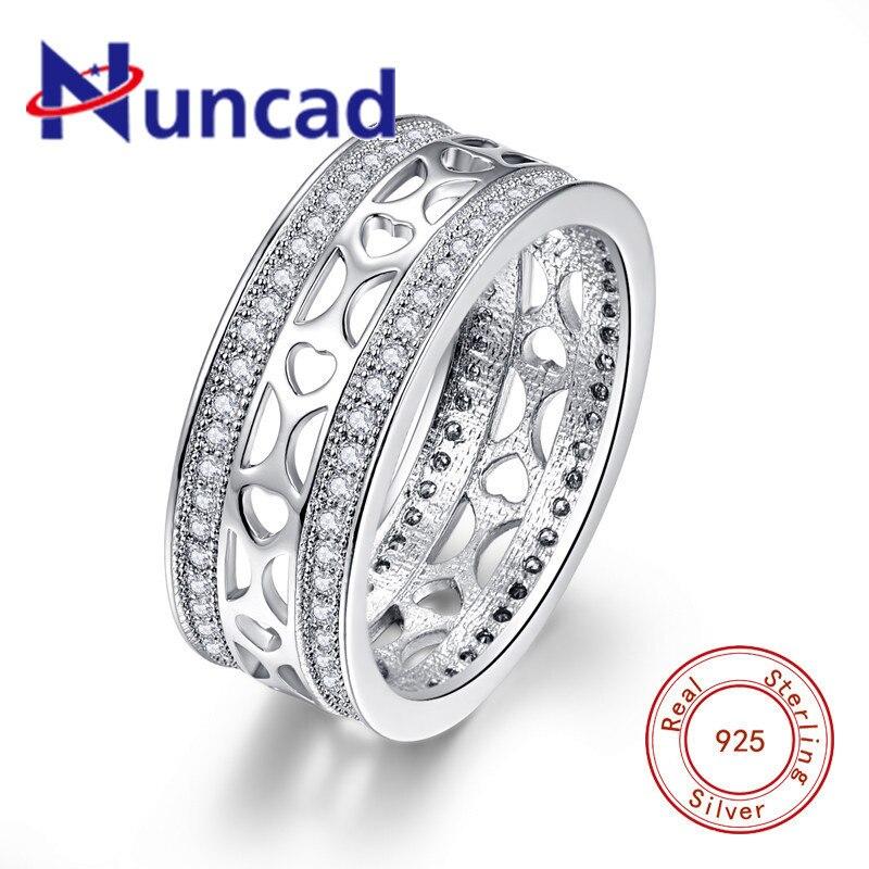 912dfb82659f Cheap NUNCAD 8 MM ancho hueco en forma de corazón 925 anillo de plata de ley