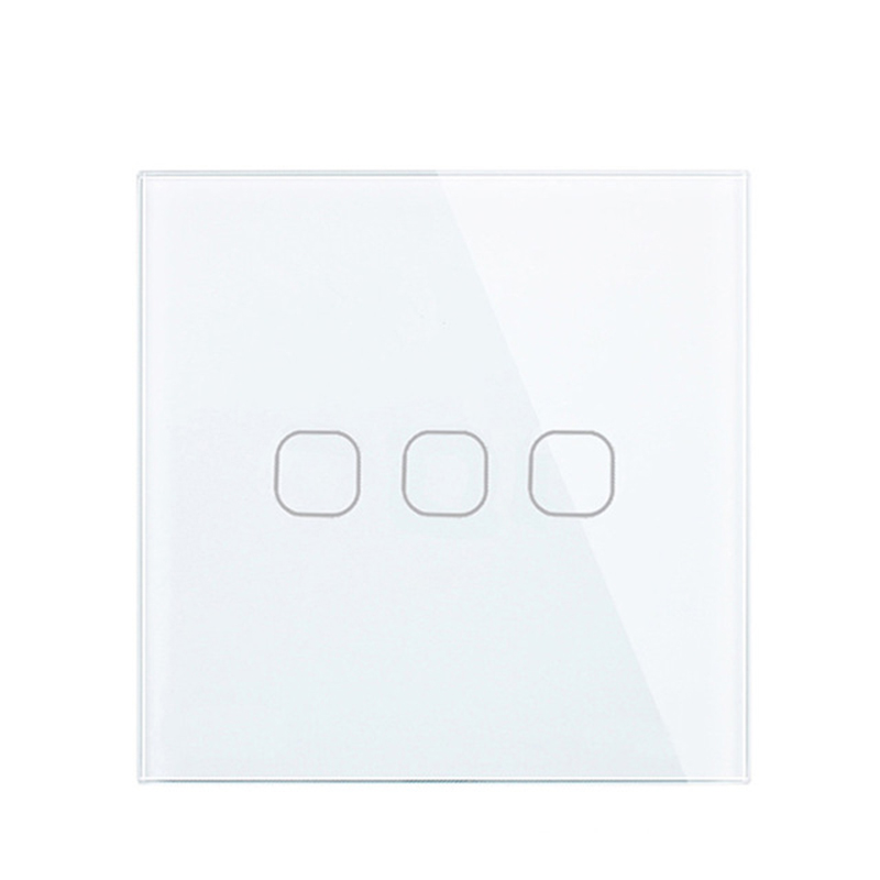 AC220V Touch Switch White Crystal Glass Panel 3 Gang 1 Way Light Wall Touch Screen Switch EU/UK EU/UK standard White Black Gold eu uk standard touch switch 3 gang 1 way wall light touch screen switch crystal glass switch panel popular