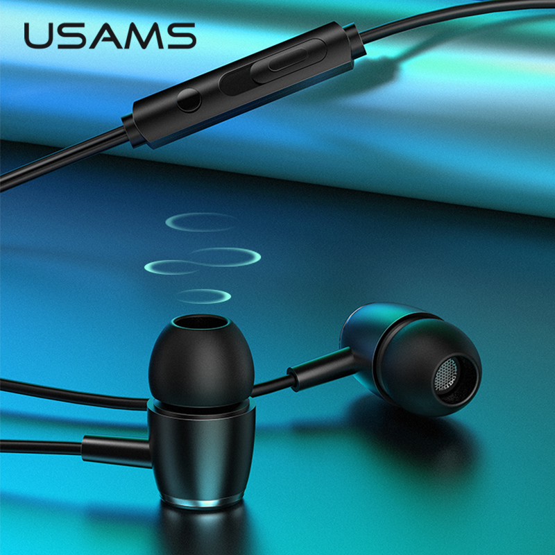USAMS EP-26 In-ear Metal Earphones,3.5mm Hifi Earbuds Bass Earphones Stereo Headset Inear Wired Ear Phone With Microphone