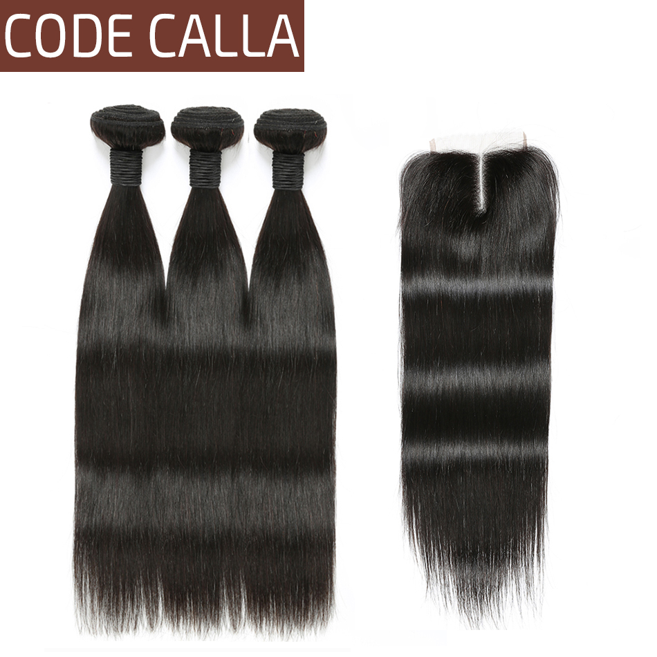 Code Calla Straight Hair Weave Bundles With Closure 4 4 Lace Size 100 Brazilian Remy Human