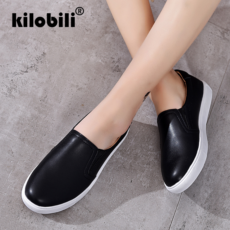7e6e9fe62fc Detail Feedback Questions about kilobili 2018 Autumn Women Leather Loafers  Fashion Ballet Flats White Black Shoes Woman Slip On Loafers Boat Shoes  Moccasins ...