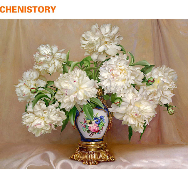 CHENISTORY No Frame Europe Flowers DIY Painting By Numbers Modern Wall Art Picture Acrylic Paint By Numbers For Living Room Art