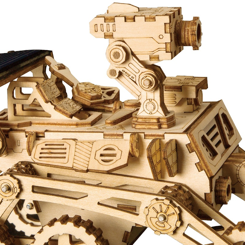Robotime Home Decor Figurine Diy Wooden Miniature Curiosity Rover Solar Energy Decoration Accessories Gifts For Children Ls402 in Craft Toys from Toys Hobbies