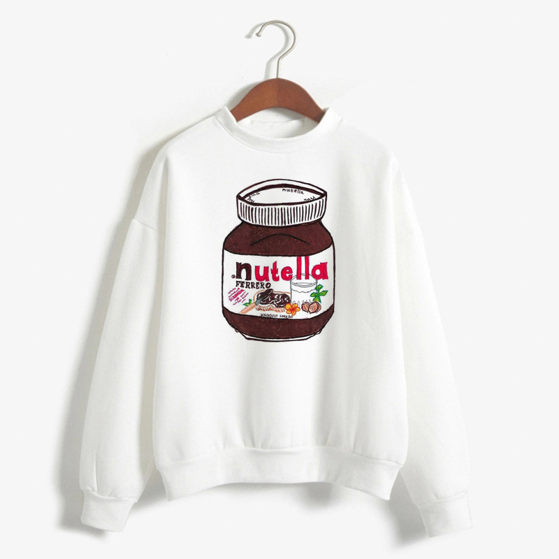 Women'S Sweatshirt Funny Nutella Hoodies Harajuku Long Sleeve Korean Fashion Pullover Hoodie Sudadera Mujer Women Clothes