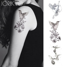 3d86a8a28 New Black Hummingbird Temporary Tattoo Stickers Women Arm Pencil Sketch  Waterproof Tatoos Girls Forearm Birds Fake Tattoo Flower