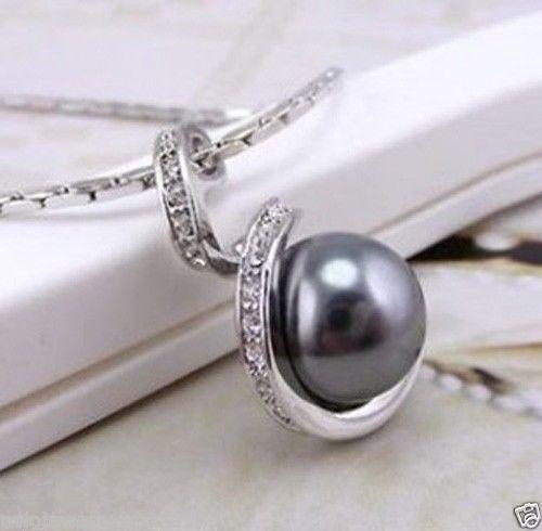Venda quente novo estilo >> >> > nova moda Jewerly espiral cinza pérola de cristal mulheres colar pingente + cadeia