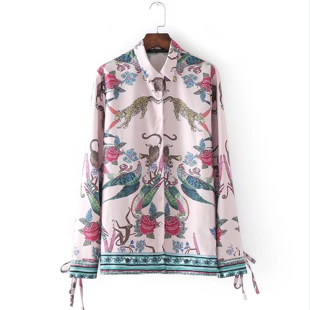 73dd5e50150 2018 New Fashion Women Vintage Animal Print Casual Loose Kimono Blouses  Shirts lady Long Sleeve Feminine