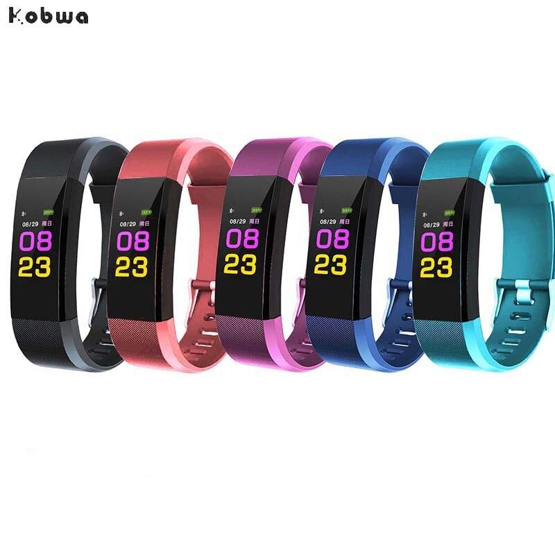 Original Color LCD Screen ID115 Plus Smart Bracelet Fitness Tracker Heart Rate Blood Pressure Monitor Smart Wristband Bluetooth