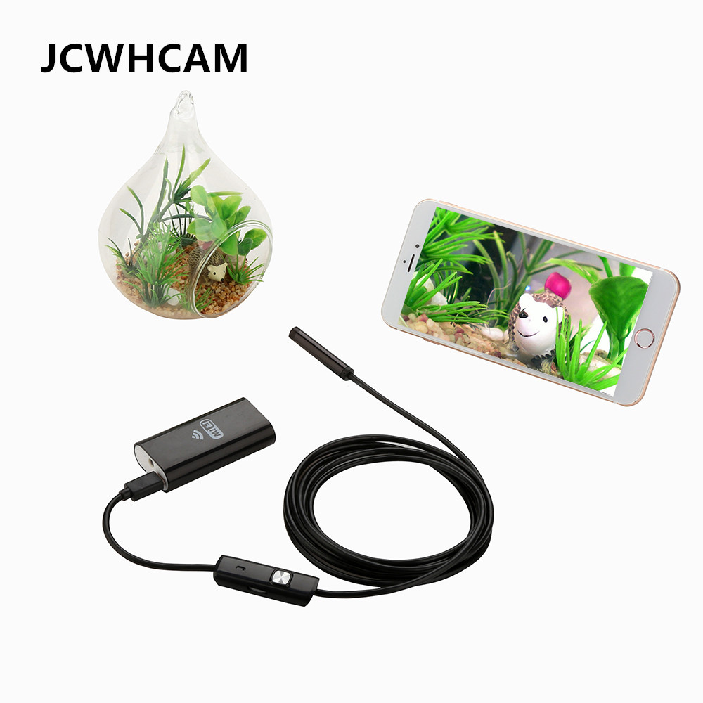 JCWHCAM Wifi Endoscope iOS Android 1/3/5/7/10m Soft cable 8mm HD 720P Borescope pipe mini Camera Snake Camera PCB Car Inspection eyoyo nts200 endoscope inspection camera with 3 5 inch lcd monitor 8 2mm diameter 2 meters tube borescope zoom rotate flip