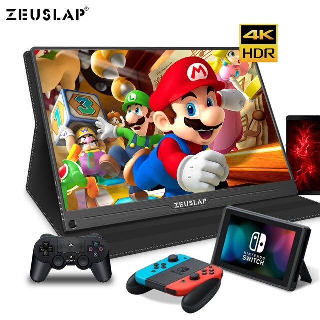 Monitor portátil de 15,6 pulgadas 4K + HDR NTSC 72% IPS, USB C HDMI para Switch Xbox One PS4