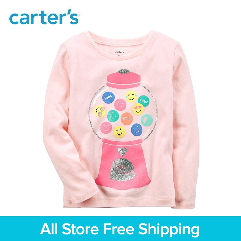 Carters 1-Piece baby children kids clothing Girl Spring Gumball Emoji Jersey Tee 253H546