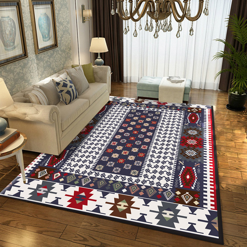 Turkish Style Living Room Carpet Hairless Polyester Coffee Table Floor Mat Decorative Non slip Bedroom Rug