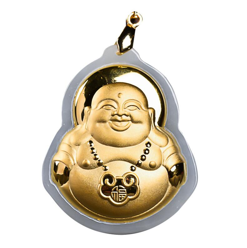 Natural White HeTian Yu + Full Gold Inlaid Carved Buddha Blessing Lucky Amulet Pendant Necklace + Certificate Fashion Jewelry wonderful handwork natural grade a green jadeite carved turtle crane lucky amulet pendant free necklace certificate jewelry