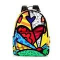 Romero britto frete grátis 2016 novos dos desenhos animados grafite bolsa de ombro mochila mochila de viagem feminino mochila feminina estilo coreano