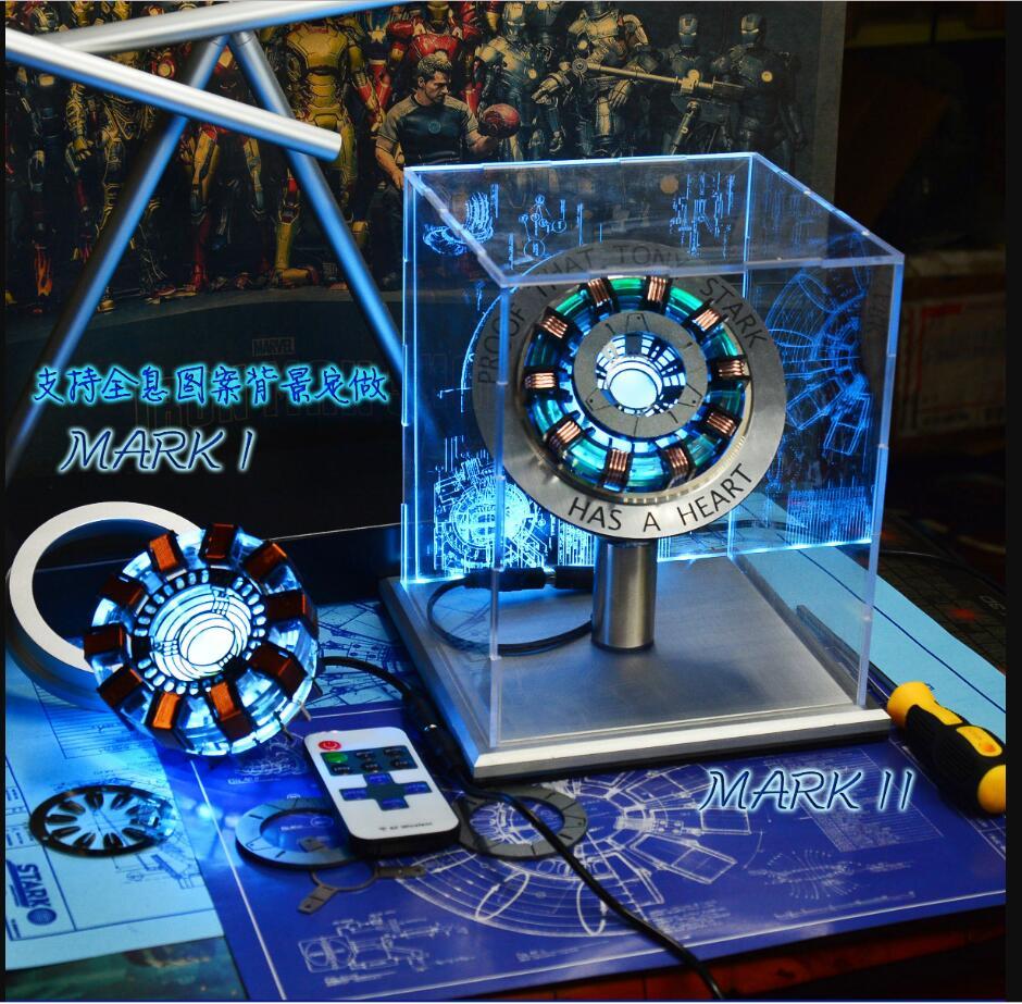 1:1 fer homme Arc réacteur lumière à distance Arc MK1 fer homme bricolage pièces modèle assemblé core présentoir (avec manuel anglais)