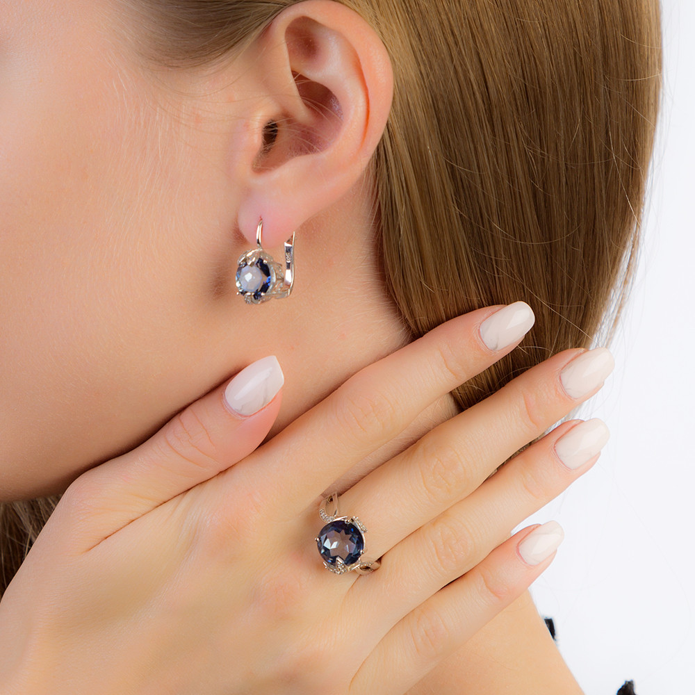 GEM'S BALLET Natural Mystic Quartz-Iolite Blue Rings Clip Earrings Real 925 Sterling Silver Fine Jewelry Set For Women Gift