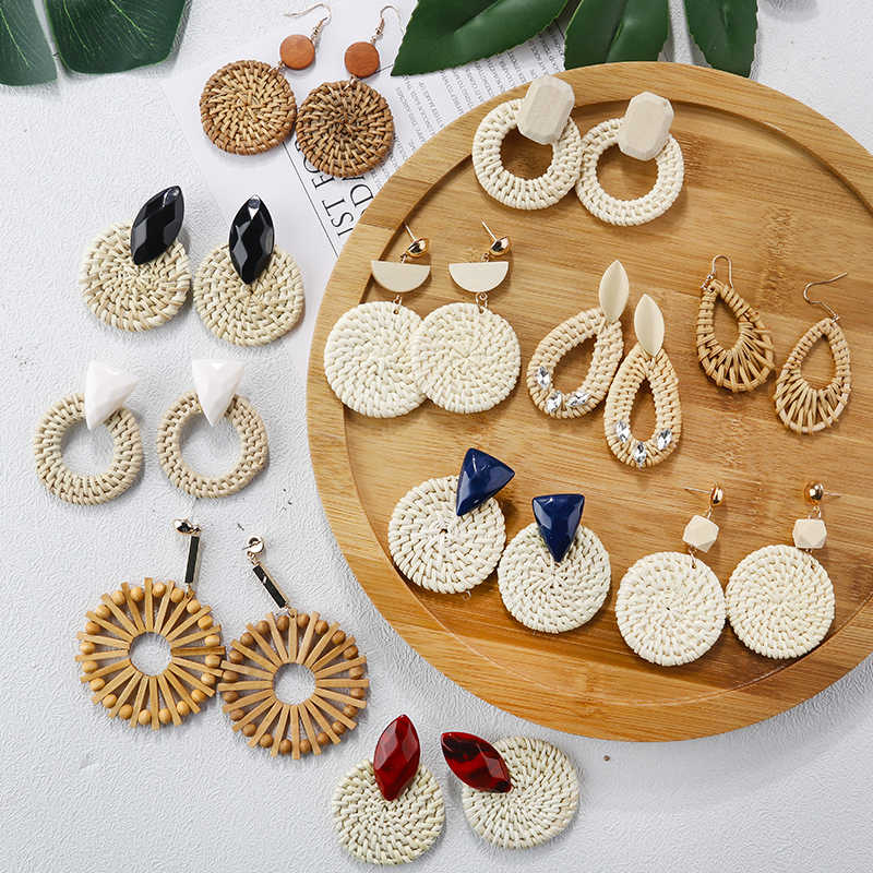 AENSOA Multiple 2019 Korea Handmade Bamboo Braid Pendent Drop Earrings New Fashion Rattan Vine Knit Long Earrings For Women Girl
