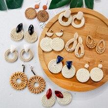 AENSOA Multiple 2019 Corea hecho a mano de bambú trenza colgante gota pendientes nueva moda Rattan vid tejer largos pendientes para mujer chica