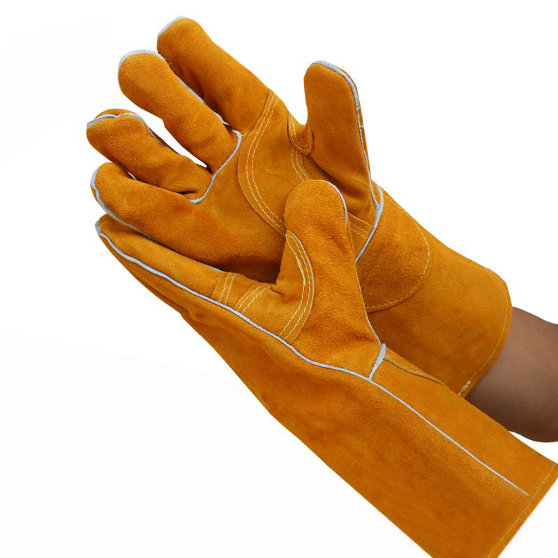 Free Ship 5 Pairs Long Cowhide Welding Gloves Welders High Temperature Fire Resistance Safety Leather Working Gloves fghgf welders dual leather welding