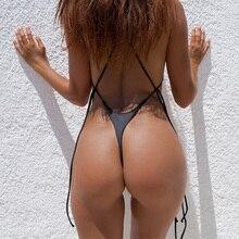 Сексуальные стринги цельный купальный костюм 2018 бандажный с открытой спиной женский пуш-ап бразильский пляжный купальный костюм Одежда для купания