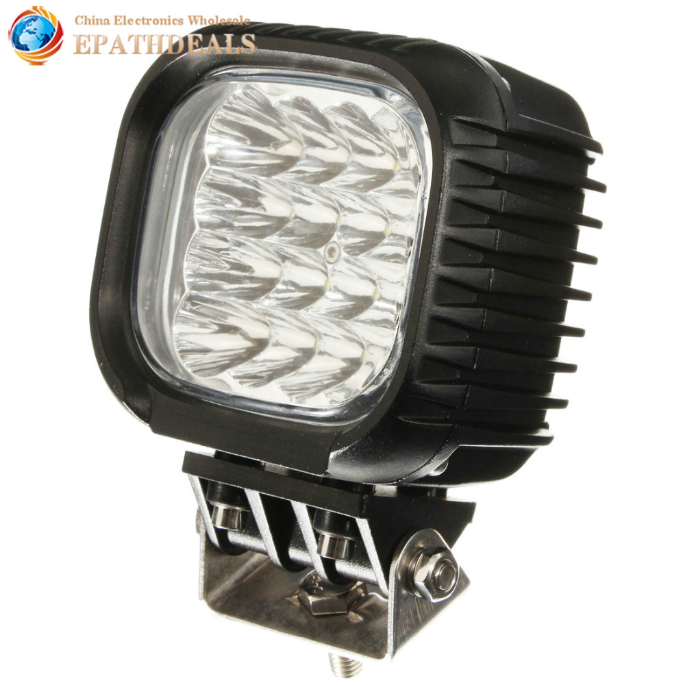 ФОТО Black 48W 4320LM Car LED Spot Work Light Waterproof & Shockproof Off-road Driving Lamp for Auto Offroad 4x4 Truck Boat Worklight