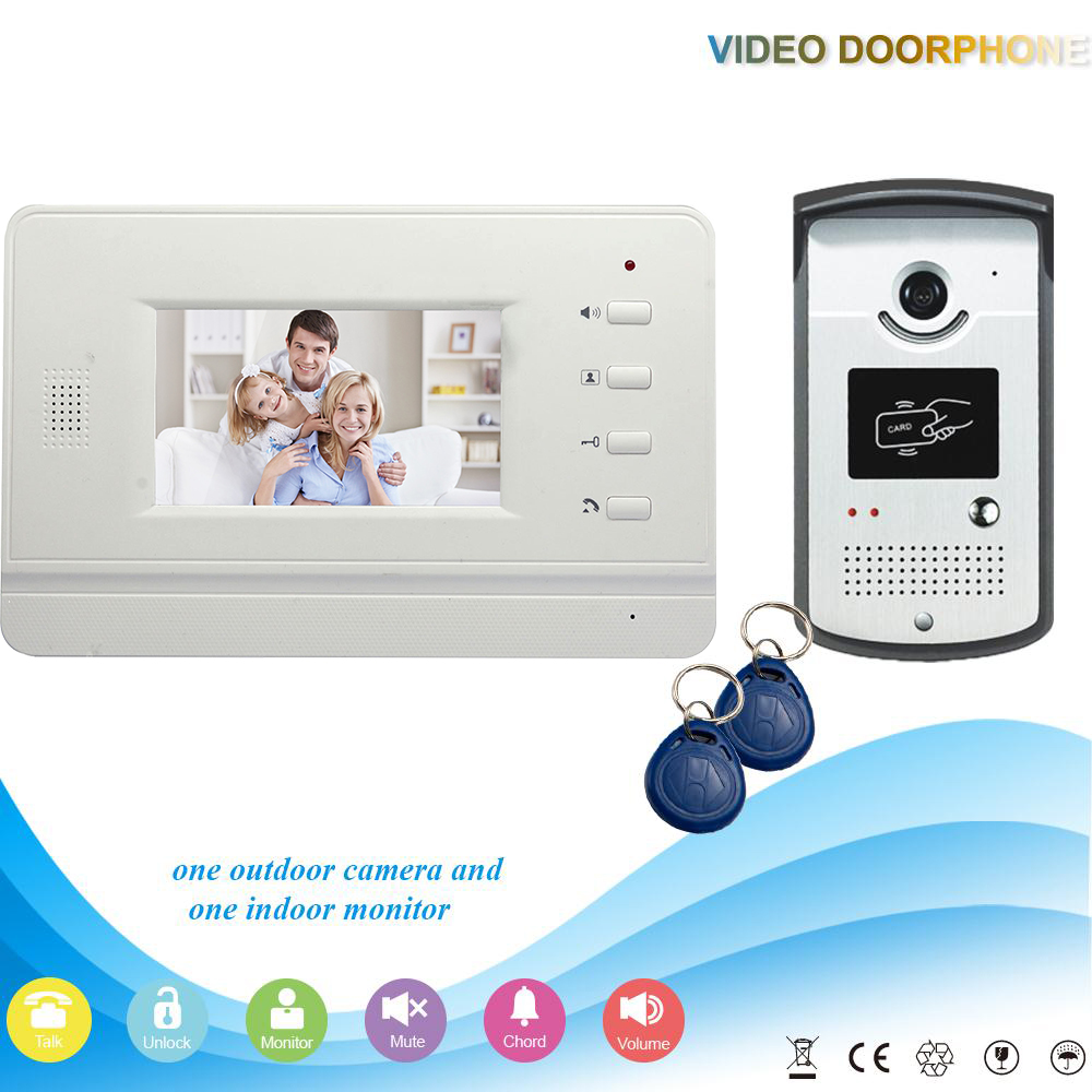 ФОТО Chuangkesafe XSL-V43B3-ID Manufacturer Hot selling 4.3 Inch rfid ID Handfree 4 Wires Intercom Video Door Phone For Villa support