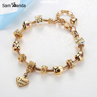 New Gold Charms Bracelet Femme Love Heart Beads Snake Chain Fit Women DIY Jewelry Adjustable Bracelets