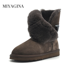 Free Shipping New Arrival 100% Real Fur Classic Mujer Botas Waterproof Genuine Cowhide Leather Snow Boots Winter Shoes for Women