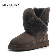 Новое поступление классических дамских зимних водонепроницаемых сапог из натуральной яловой кожи на 100% настоящем меху с бесплатной доставкой Mujer Botas зимняя обувь для женщин