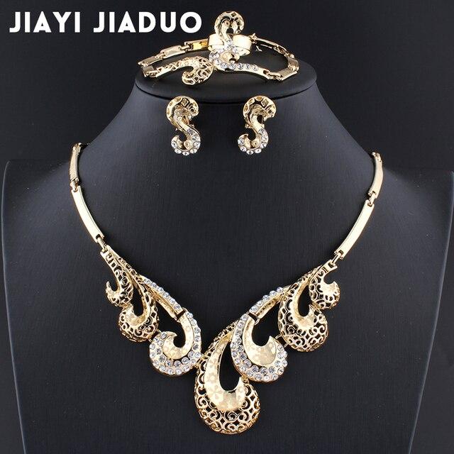 Jiayijiaduo conjuntos de joyas de cuentas africanas collar de Color dorado anillo de pulsera de boda joyería para mujer