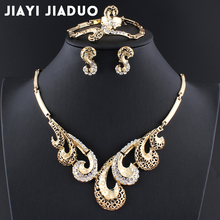 jiayijiaduo 017 African beads jewelry sets Gold color necklace earring Bracelet ring Wedding womens jewellery for womens jewelry