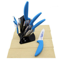 Newest Ceramic Knife Set 6pieces Cooking Tools 3′ 4′ 5′ 6′ inch+Peerler+Holder Kitchen Knives with Blue Flower Kitchen Knife Set