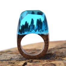 Secret Handmade Jewelry Wooden Resin Rings Blue Miniature World Inside Ring Elegant Jewellery for Women Men Gift