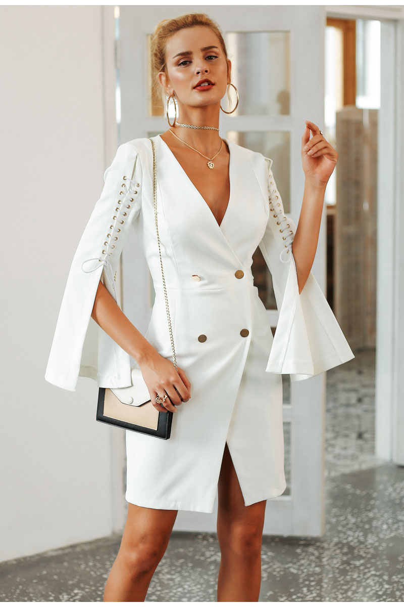 Women Elegant lace up split blazer double breasted white dress