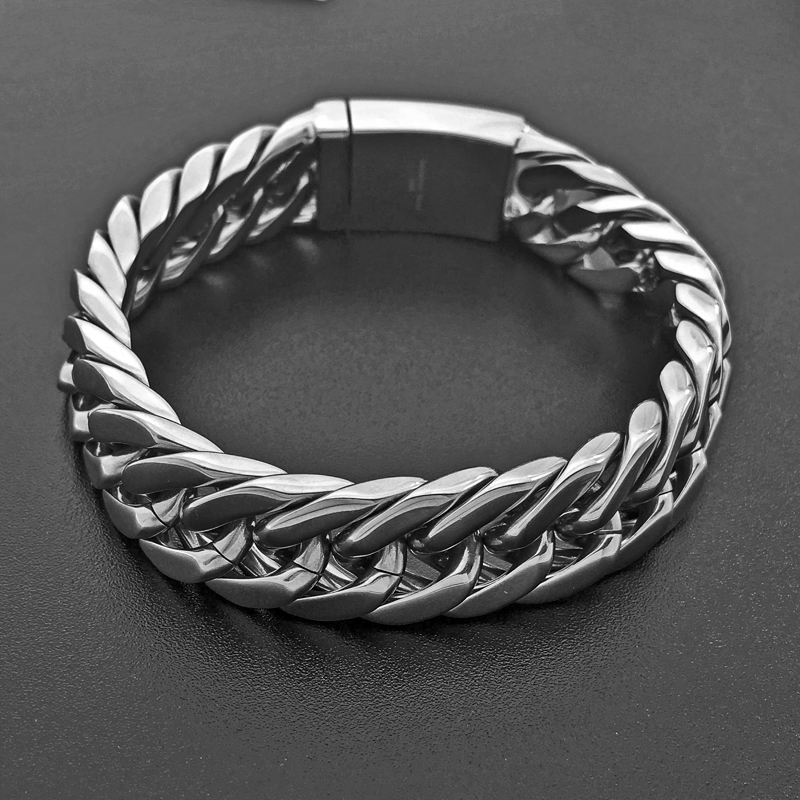 Chain Cuba Bracelet For Men Fashion Jewelry Silver Chain Stainless Steel Bracelet Simple Smooth Link Heavy 14mm Wide 032