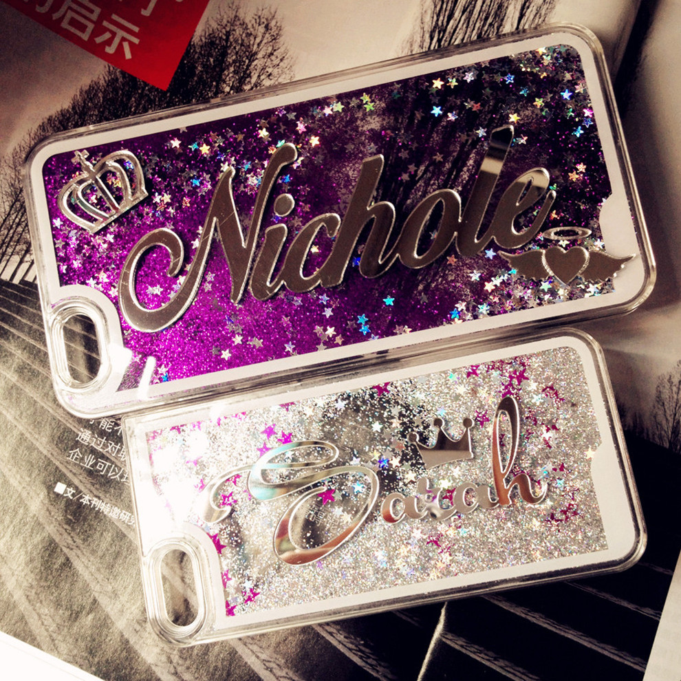 Exclusive Customize Name Liquid Glitter Case For Iphone X